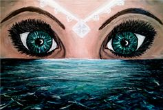 Oil painting of two eyes above the sea and a white jewel on the woman face that illuminates the water. Oil painting of two big green and blue eyes above green royalty free illustration