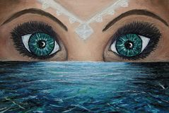 Oil painting of two eyes above the sea and a white jewel on the woman face that illuminates the water