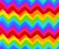 Oil painting vector rainbow zigzag pattern Stock Image