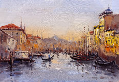 Oil Painting - Venice, Italy. Oil Painting of Venice, Italy Vector Illustration