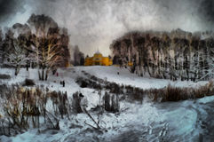 Oil painting view of the noble estate. In the winter Stock Photography