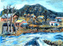 Oil painting Village. On paper Stock Image