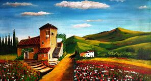 Oil painting village house with flowers