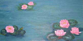 Traditional oil painting of waterlilies and goldfish Royalty Free Stock Images