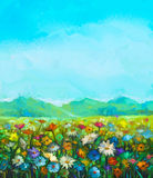 Oil painting white, red, yellow daisy- gerbera flowers. Wildflower in fields. Meadow landscape with wild flowers, hill and blue sky background. Hand Paint Royalty Free Stock Image
