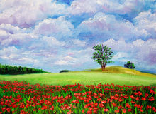 Oil Painting - Wild Flowers Stock Photo