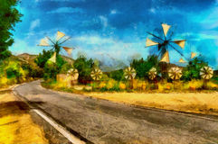Oil painting windmills on bee bread hot day. Oil painting windmills on bee bread hot summer day Stock Photos