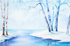 Oil painting - winter landscape, colorful watercolor Royalty Free Stock Photo