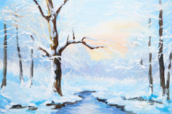Oil painting winter landscape, frozen river in the forest. Stock Photo