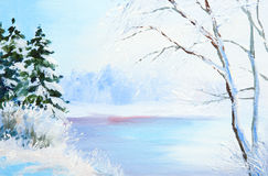 Oil painting winter landscape, frozen river in the forest Stock Photography