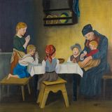 A woman and five children at the table praying royalty free stock photography