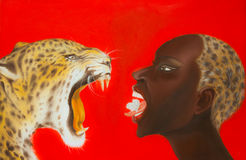 Oil painting of woman and tiger Stock Images