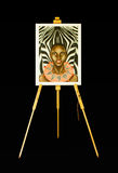 Oil painting of a woman and zebra Royalty Free Stock Photo
