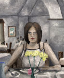 Oil Painting Young Woman in Cafe Royalty Free Stock Photo