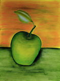 Oil paintings apple Royalty Free Stock Image