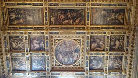 Oil paintings decorating the interior ceilings of Palazzo Vecchio Stock Image