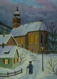 Way to the church in winter with light in the windows vector illustration