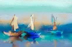 Oil paintings  seascape with boat, sail on sea. Stock Photos