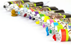 Oil paints. Multicolored oil paints isolated on white Stock Photos