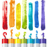 Oil paints. And strokes in rainbow colors stock illustration