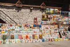 Oil paints gallery on the city walls of Krakow. Fortification, artist. KRAKOW, POLAND: Oil paints gallery on the city walls of Krakow old town, Poland. This stock images
