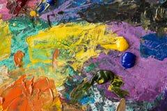 Oil paints palette Stock Images