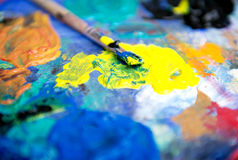 Artists Pallet and Brush Stock Photo
