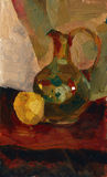 Oil paints pitcher and apple still life illustration. Oil paints still life illustration with pitcher and apple stock illustration