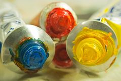 Oil paints tubes Stock Photography