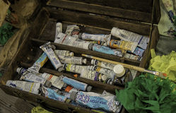 Oil Paints in a Wooden Box Stock Image