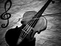 Oil panting of a violin playing in black and white, musical instrument stock illustration