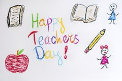 Oil Pastel Childlike Drawing Happy Teachers Day Card Royalty Free Stock Image