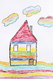 Oil Pastel Childlike Drawing House. Colorful Kid`s Hand Drawn House with Tree royalty free stock image