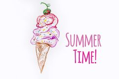 Oil Pastel Childlike Drawing Ice Cream. With Summer Time Text Royalty Free Stock Photography