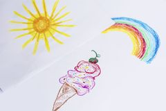 Oil Pastel Childlike Drawing Ice Cream,Sun and Rainbow Royalty Free Stock Photos
