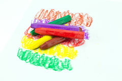 Oil Pastel Crayons. On a white paper Royalty Free Stock Photo