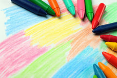 Oil pastel crayons lying on a paper Stock Photo