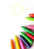 Oil pastel crayons lying on a paper Royalty Free Stock Image