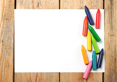 Oil pastel crayons lying on a paper Royalty Free Stock Photo