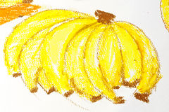 Oil Pastel Drawing Bananas stock photos