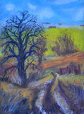 Oil pastel drawing of a country road Royalty Free Stock Images