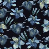 Seamless pattern of different lily flowers and buds on dark back royalty free illustration