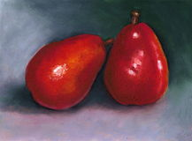 Oil Pastel Painting of Two Bright Red Pears. This is my oil pastel painting of two shining red pears, with one leaning on the other Stock Image