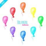 Oil pastel rainbow balloons set. Hand drawn oil pastel colorful rainbow balloons set Stock Image