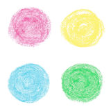 Oil pastel round design elements Royalty Free Stock Images