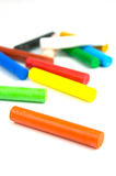 Oil Pastels. /crayons isolated against a white background Royalty Free Stock Image