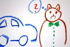 A bear deciding about new car on the kid`s drawing. Oil pastels crayons colourful art drawing on white paper background royalty free stock photos