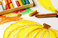 Oil Pastels Drawing Royalty Free Stock Photo
