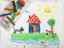 Oil pastels drawing: country house Stock Image