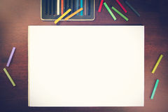 Oil pastels drawing mockup Royalty Free Stock Photos